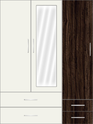 3 Door Wardrobe with mirror and external drawers| White Metal - Design 2