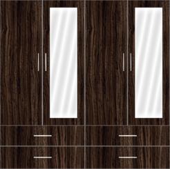 4 Door Wardrobe Design with external drawers and mirror  - Design 2