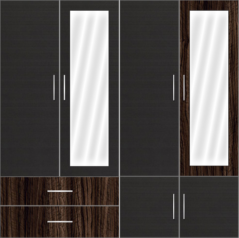 4 Door Wardrobe Design with external drawers and mirrors - Celtic Ebony