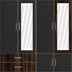4 Door Wardrobe with external drawers and mirrors - Celtic Ebony - Design 2