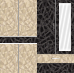 4 Door Wardrobe Design with external drawers and mirrors    Corn Yellow and Trellis Elegant - Design 2