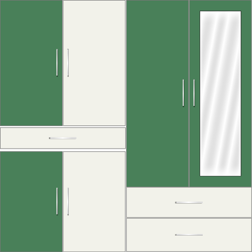 4 Door Wardrobe with external drawers and mirrors| Emerald and White Metal