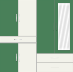 4 Door Wardrobe with external drawers and mirrors| Emerald and White Metal - Design 1