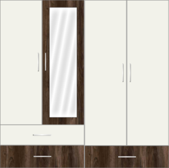 4 Door Wardrobe with external drawers and mirrors | Misty Dreams and Misty Dreams White - Design 2
