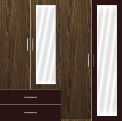 4 Door Wardrobe Design with external drawers and mirrors | Misty Dreams and Misty Dreams White - Design 2