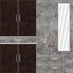 4 Door Wardrobe with external drawers and mirrors| Murkey Marble  and Rock Painting - Design 1