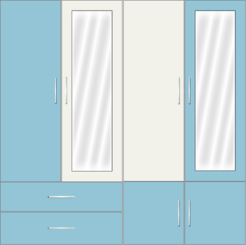 4 door wardrobe with external drawers and mirrors| Sky Blue and White Metal - Design 1