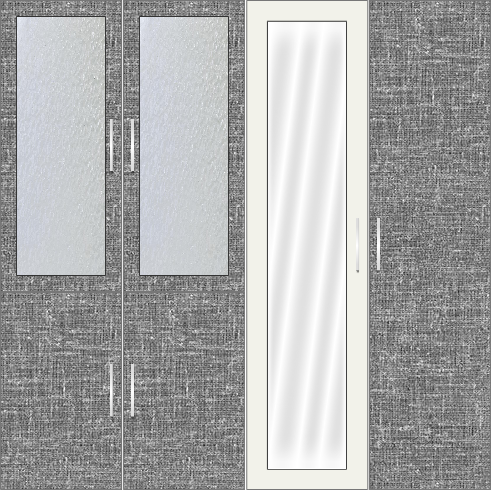 4 Door Wardrobe Design with frosted glass and mirrors| City Scape Cambric and White Metal