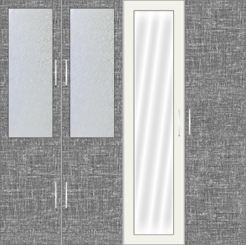 4 Door Wardrobe with frosted glass and mirrors| City Scape Cambric and White Metal - Design 2