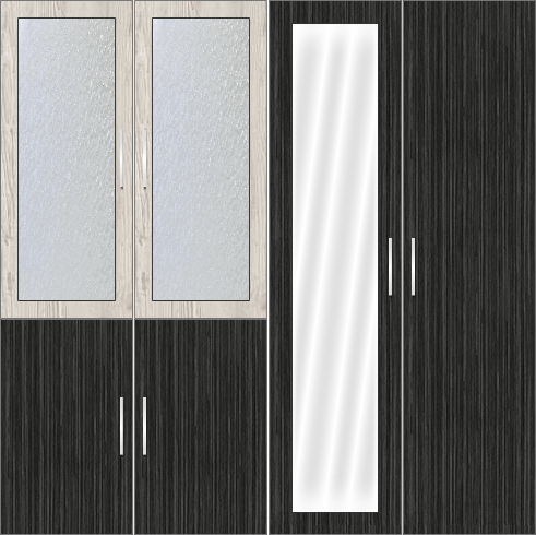 4 Door Wardrobe Design with frosted glass and mirrors | Doredos Pine and Sorreal Teak