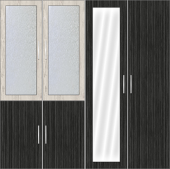 4 Door Wardrobe Design with frosted glass and mirrors | Doredos Pine and Sorreal Teak - Design 1