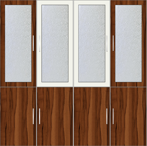 4-Door Wardrobe with frosted glass and mirrors - Metal White and Orchard Delight