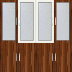4-Door Wardrobe with frosted glass and mirrors - Metal White and Orchard Delight  - Design 1