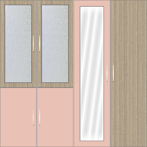4 Door Wardrobe Design with frosted glass and mirrors | Rose Geranium
