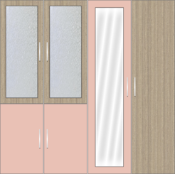 4 Door Wardrobe Design with frosted glass and mirrors | Rose Geranium - Design 1