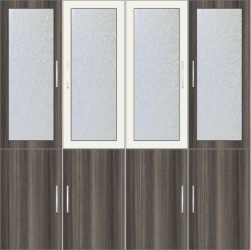 4-Door Wardrobe with frosted glass - Lynx and Tawny Balsam