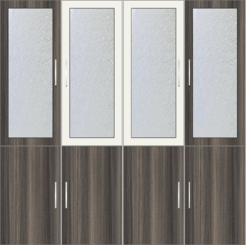 4-Door Wardrobe Design with frosted glass - Lynx and Tawny Balsam - Design 2