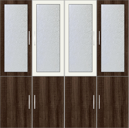 4-Door Wardrobe with frosted glass - Tawny Balsam and White Metal