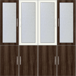 4-Door Wardrobe Design with frosted glass - Tawny Balsam and White Metal - Design 1