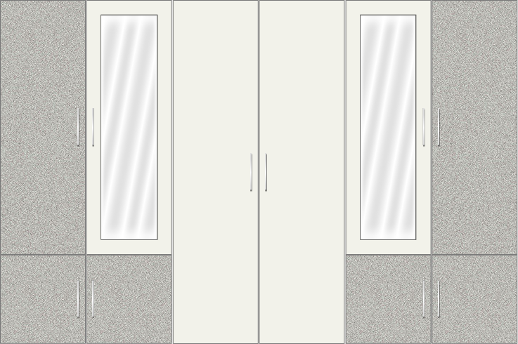 6 Door Wardrobe with and mirrors |Grey Granite and Pearl Black