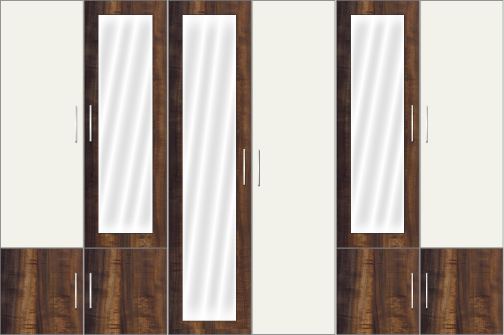 6 Door Wardrobe with and mirrors |White metal and Columbian Walnut
