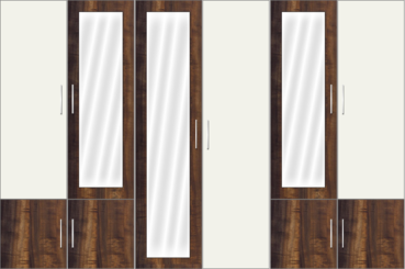 6 Door Wardrobe with and mirrors |White metal and Columbian Walnut - Design 2