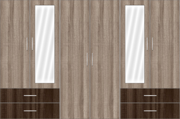 6 Door Wardrobe Design with external drawers and mirrors |Aggies Micas and Canterbury Oak - Design 1