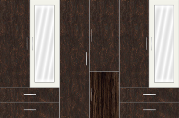 6 Door Wardrobe Design with external drawers and mirrors | Carsima Wood and White Metal - Design 2