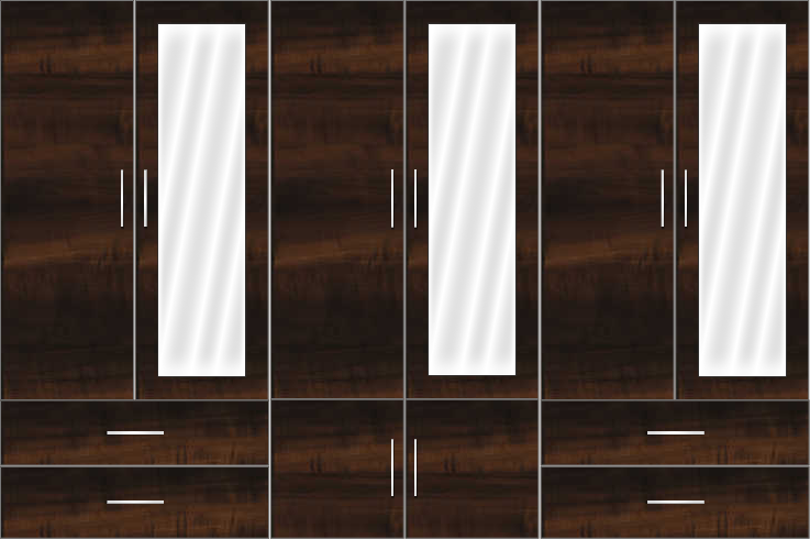 6 Door Wardrobe Design with external drawers and mirrors| Columbian Horizontal Walnut