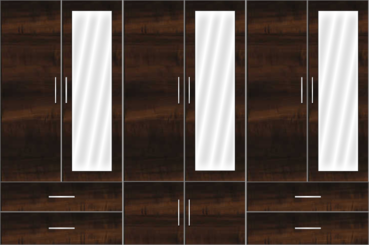 6 Door Wardrobe Design with external drawers and mirrors| Columbian Horizontal Walnut - Design 1