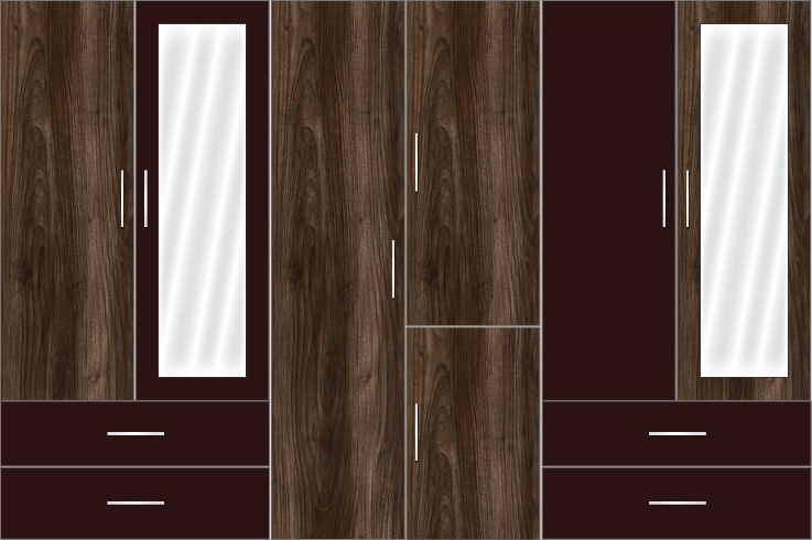6 Door Wardrobe Design with external drawers and mirrors |Eternity Walnut and Chocolate