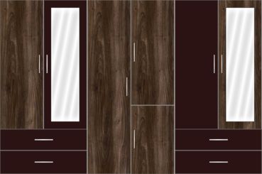 6 Door Wardrobe Design with external drawers and mirrors |Eternity Walnut and Chocolate - Design 2