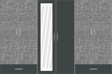 6 Door Wardrobe Design with external drawers and mirrors |Pearl Black and City Scape Cambric - Design 2