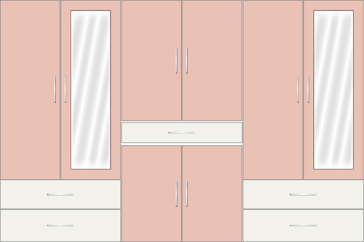 6 Door Wardrobe with external drawers and mirrors |White Metal and Rose Geranium