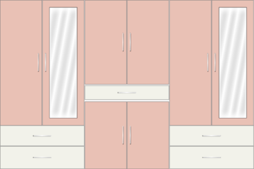 6 Door Wardrobe with external drawers and mirrors |White Metal and Rose Geranium - Design 1