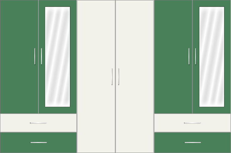 6 Door Wardrobe with external drawers and mirrors| White Metal and Emerald