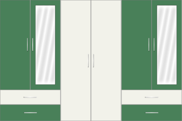 6 Door Wardrobe with external drawers and mirrors| White Metal and Emerald - Design 1