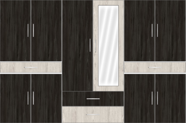 6 Door Wardrobe Design with external drawers and mirrors| Wych Koawood and Doredos Pine - Design 1