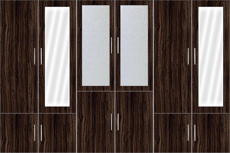 6 Door Wardrobe Design with frosted glass and mirrors