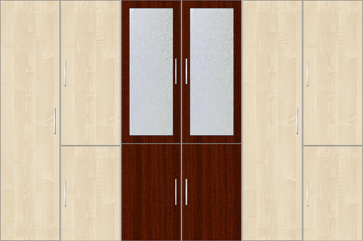 6 Door Wardrobe with frosted glass |Hardrock Maple and Mahagony