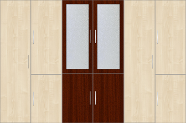 6 Door Wardrobe Design with frosted glass |Hardrock Maple and Mahagony - Design 2