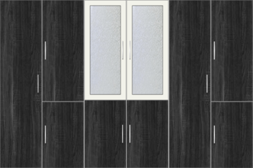 6 Door Wardrobe with frosted glass |White Metal and Hinds Black Oak - Design 2