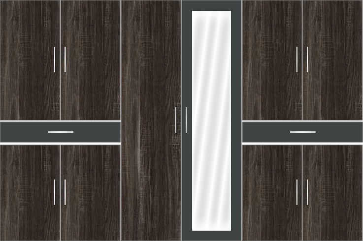6 Door Wardrobe Design with full mirror and external drawers - Pearl Black and Draintree Oak