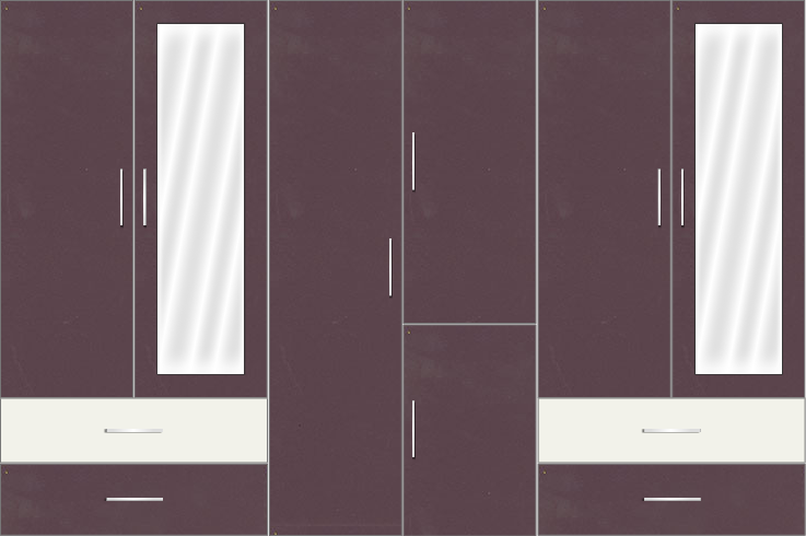 6 Door Wardrobe Design with Mirror and External Drawers | Black Current and Frosty White