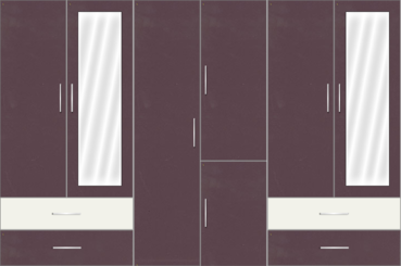 6 Door Wardrobe Design with Mirror and External Drawers | Black Current and Frosty White - Design 1