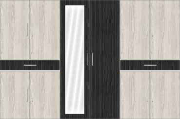 6 Door Wardrobe Design with Mirror and External Drawers (Dordoes Pine with Sorrel Teak) - Design 2