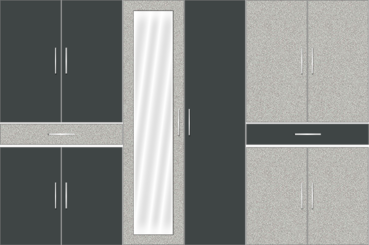 6 Door Wardrobe Design with Mirror and External Drawers (Pearl Black with Grey) - Design 2