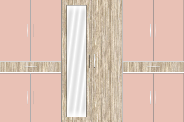 6 Door Wardrobe Design with Mirror and External Drawers | Rose Geranium and Tundra Forest