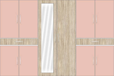 6 Door Wardrobe Design with Mirror and External Drawers | Rose Geranium and Tundra Forest - Design 1