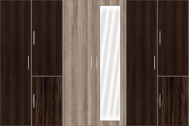 6 Door Wardrobe Design with mirrors | Canterbury Oak and Auburn Oak